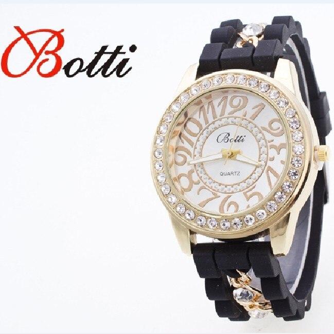 ebd3bbd9c43 Ybotti Nova Moda de Luxo Da Marca Relógio De Quartzo De Cristal Mulheres  Vestido Relógios Relogio feminino Da Cadeia de Silicone relógios de Pulso  Hot Sale