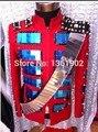 Más el tamaño del espejo remaches chaqueta de punk rock rojo nightclub traje traje ds dj cantante bailarina de jazz mostrar pantalones chaqueta
