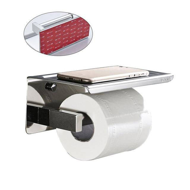 Wall Mounted Self Adhesive Bathroom Toilet Paper Holder Stainless Steel Roll Storage Moblie Phone