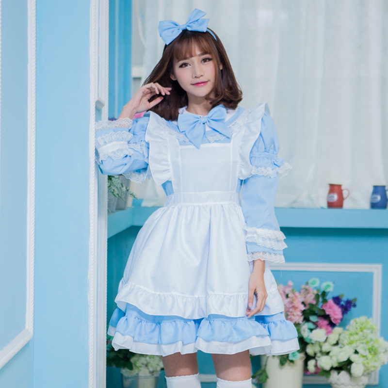 089940b704255 Woman Cosplay Alice In Wonderland Blue Dress Cute Lolita Maid Apron Pink  Dress Lace Up Bow Big Swing Dress Party on Aliexpress.com | Alibaba Group