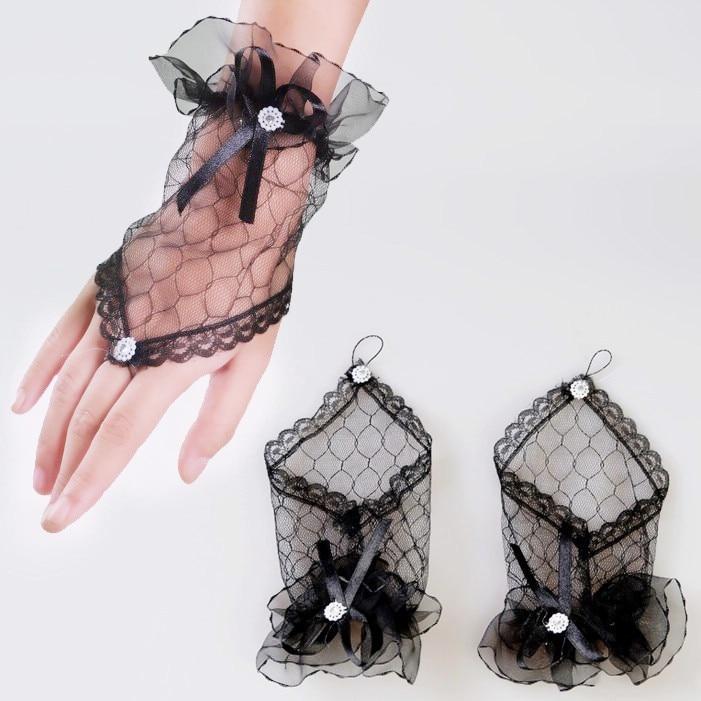 ₩Más nuevo Encaje sin dedos Guantes burlesque clubwear fiesta (negro ...