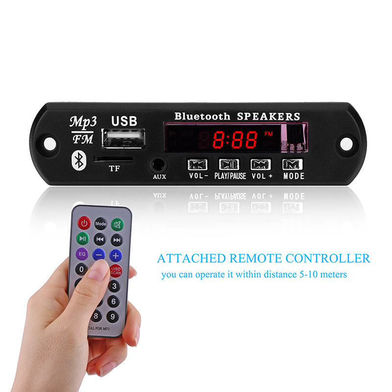 Car Bluetooth Speaker LCD Screen MP3 Player 12V Car KIT WMA WAV Decoder Micro USB Support U disk playback Remote Control