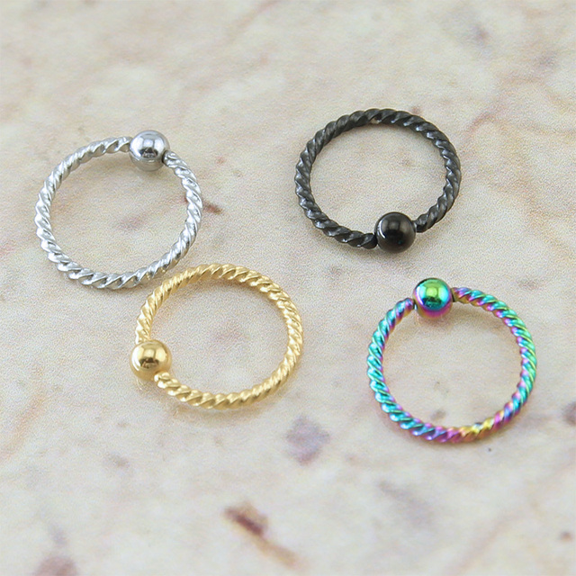 Simple & Trendy Spiralled Steel Captive Bead Nose Ring