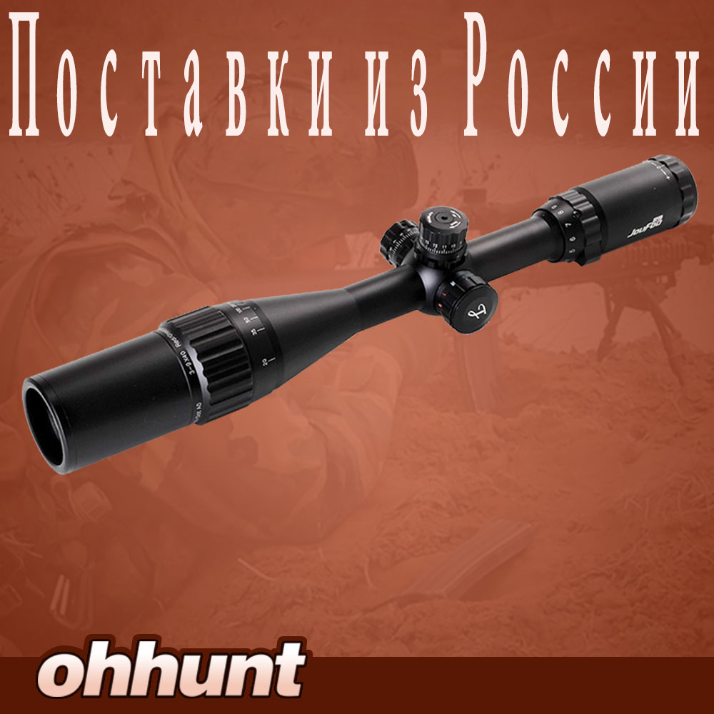 ФОТО JouFou 3-9X40 AO Riflescope Tactical Optical Sight Full Size Mil Dot Red Green Blue llluminate Hunting Rifle Scope
