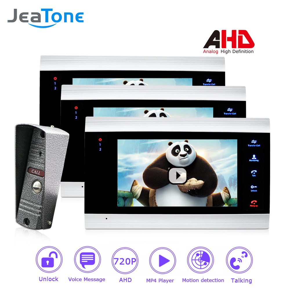 7 inch Video Intercom 720P/AHD Video Door Phone Door Bell Door Speaker Security System Voice message/Motion Detection/ 1 to 3 цена