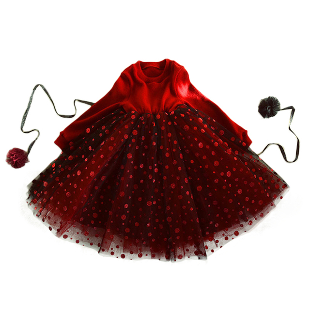 2018 Chiristmas Velvet Teenage Kids Red Black Winter Dress Long Sleeves Puffy Tulle Vintage Style Warm Clothes for Big Girls