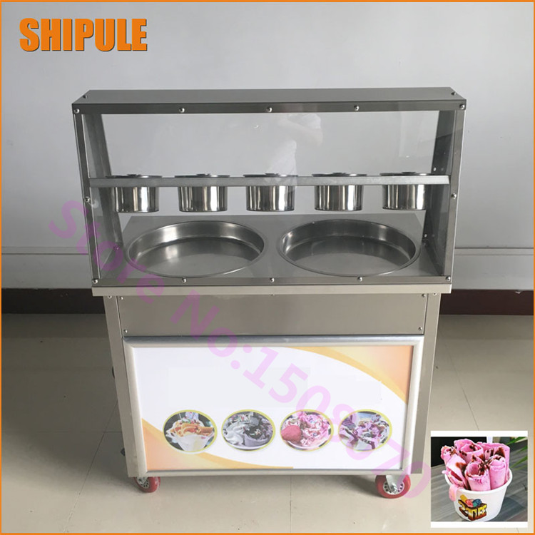 Thailand double round pan fry ice cream machine fried ice cream roll machine with 5 cooling tanks 2017 ce approved thai style fried ice cream roll machine single pan fry ice machine fast cooling ice pan machine with dust cover