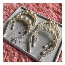 Girlgo 2 Piece Set  Simulated Pearl Hairbands For Women Luxury Pearl Hairwear & Earrings Girl Bridal Party Hair Hoop Jewelry