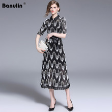 Banulin Fashion Designer Runway Summer Midi Dress Womens Short Sleeve Turn Down Collar Slim Casual Sequins Lace