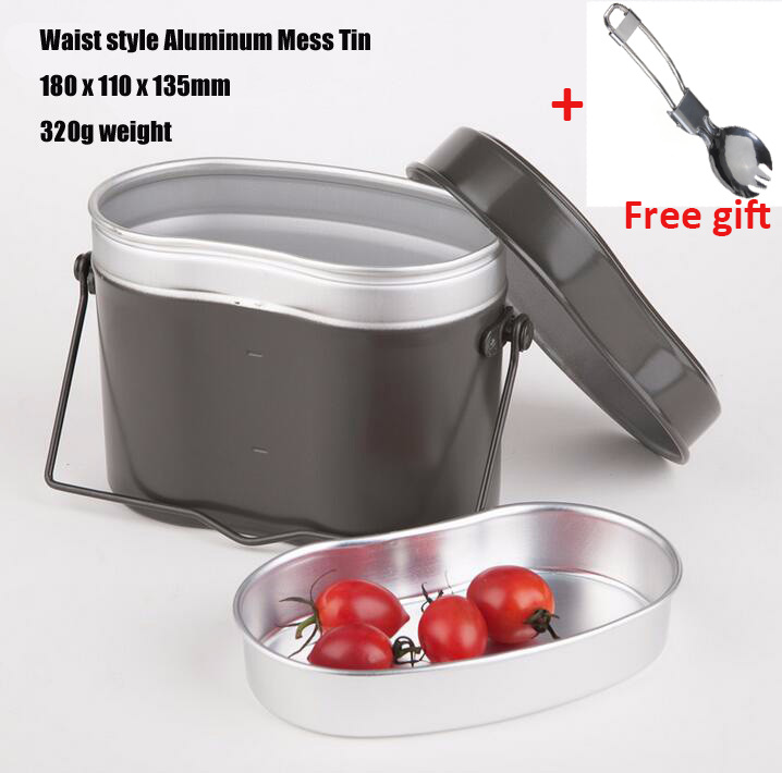 Outdoor Camping picnic Cookware Hiking Cook Set Bento Lunch Dinner Boxes Pot Bowl Soup With Handle For German Military in Outdoor Tablewares from Sports Entertainment