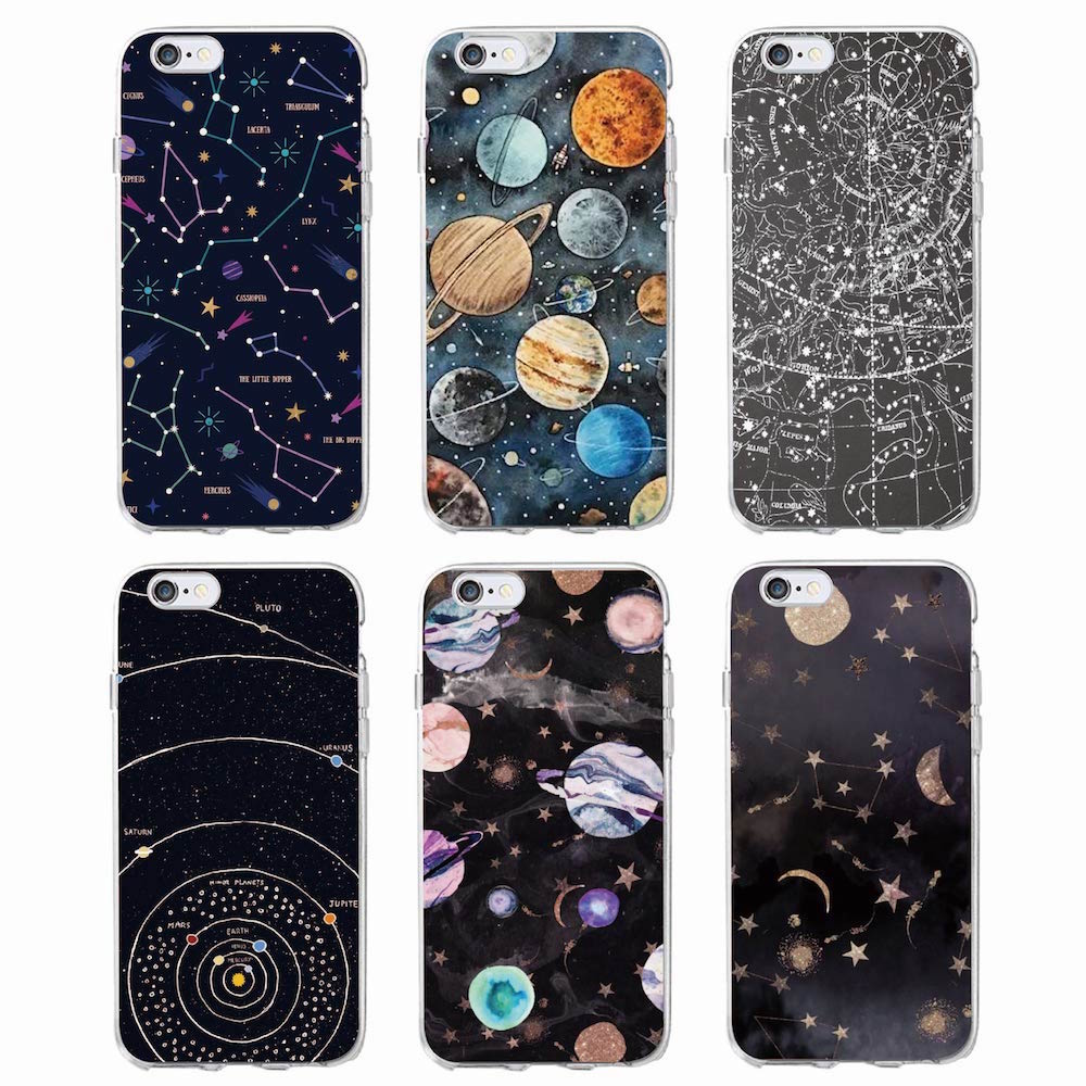 Outer Space Planet Ruimteschip Sterrenbeeld Sterren Maan Soft Clear Phone Case Voor iPhone 11 Pro 7 7Plus 6 6S 6Plus 5 5S SE XS Max