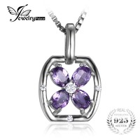 JewelryPalace Flower 0 6ct Oval Natural Purple Amethyst Necklaces Pendants 925 Sterling Silver 45cm Box Chain
