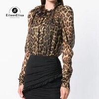 Шелковая блузка Женская Весенняя рубашка с длинными рукавами Топы 2019 Модные леопардовые Блузы с принтом Femme рубашки