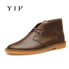 YJP Классический Пустыни Сапоги, черный/Коричневый Кожаный Chukka, мужская шнуровке Круглый Носок Ботильоны, старинные Повседневная Обувь Плоский Каблук Botas