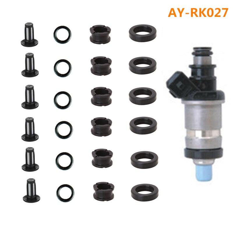 Prix pour 6 ensembles gros injecteur de carburant kit de réparation et service kits y compris filtre viton oring joints en caoutchouc Pour Honda Voiture (AY-RK027)