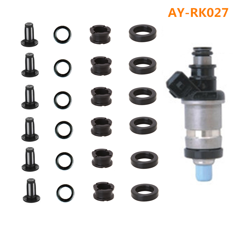 6sets wholesale fuel injector repair kit & service kits including filter viton oring rubber seals For Honda Car (AY-RK027) горнолыжные палки atomic atomic amt2 темно серый 115