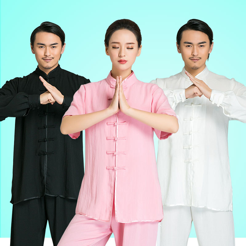Traditional Chinese Kung Fu Clothing Linen Shirts Men Women Cheongsam Chinese Style Pankou Loose Coat Martial Art Hanfu