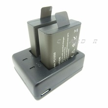 Rechargeable Battery 1050 mAh 2 Batteries For SJCAM SJ4000 SJ5000X For EKEN H9 H9R H8R H8 action camera with Dual charger 30