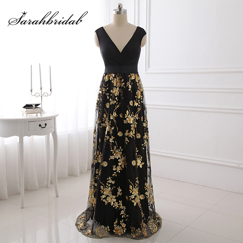 Real Pictures Gold Shining Appliques Black Lycra Prom Dresses with ...