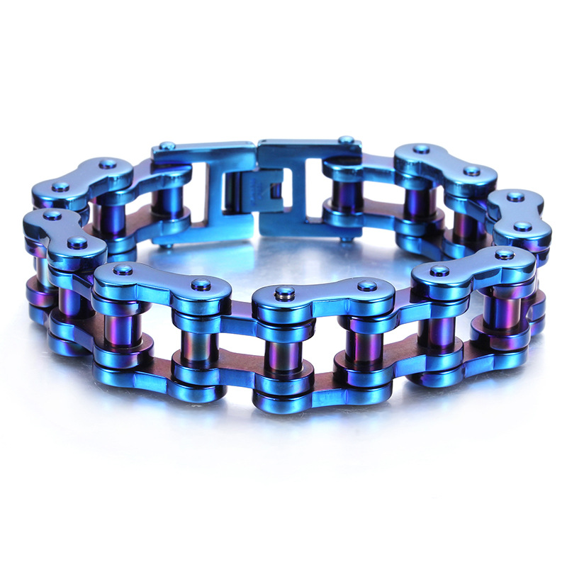 Punk Blue Bicycle Bike Bracelets amp Bangles Motorcycle Chain Men 39 s Colorful Bracelet Men Stainless Steel Biker Men Jewelry in Chain amp Link Bracelets from Jewelry amp Accessories