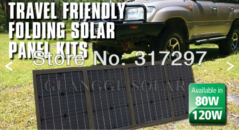 GGX ENERGY 120 Watt Portable RV and Marine Mono Folding Solar Panel Kit with 10A Solar Charge Controller