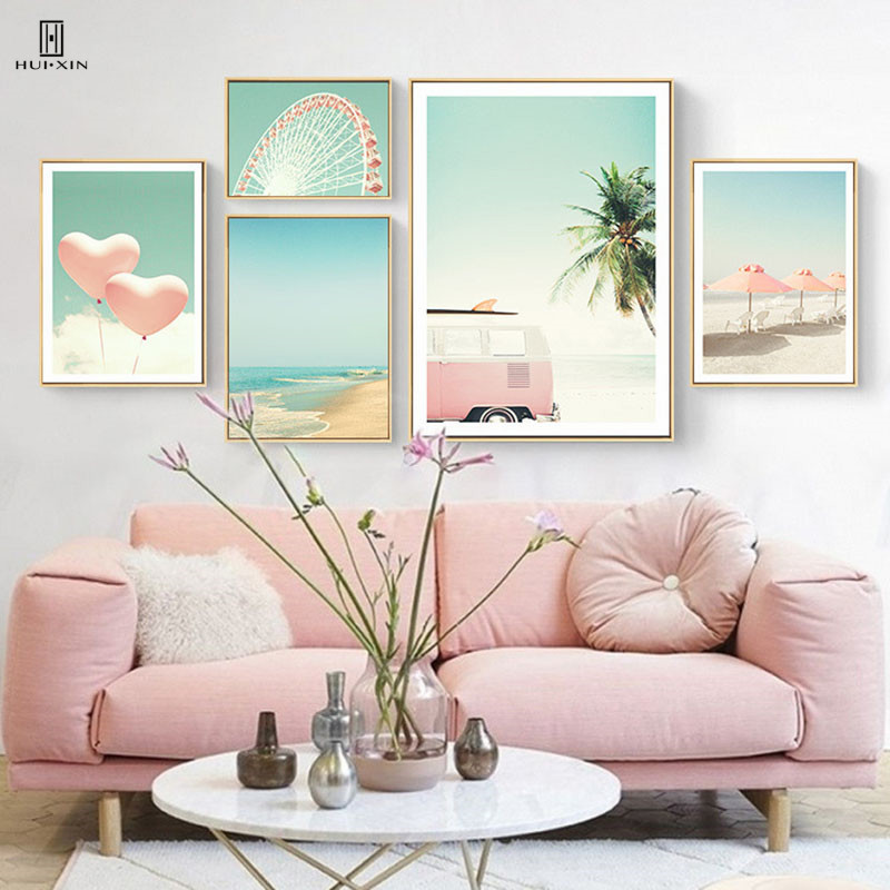 Fresh Of Two Pink Balloon Having The Heart Shape Slowly Fly In The Blue Sky With White Cloud Decorative Paintings For Home Decor