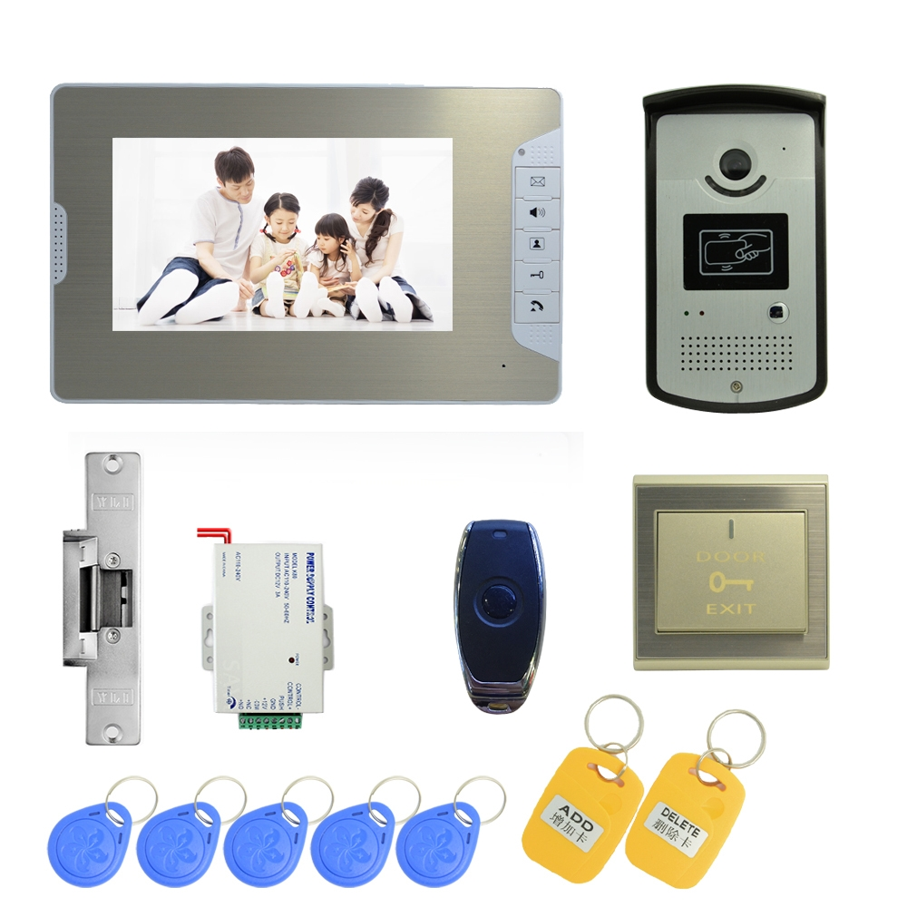 Free Shipping DHL 7 Inch Video Door Phone Door Bell Intercom Color Monitor Access Control Exit Button Remote Unlock RFID Key