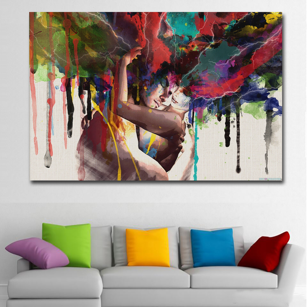 SELFLESSLY ART Posters Prints Lover Hugging Canvas Painting Wall Pictures For Living Room Wall Art Abstract Decoration Paintings