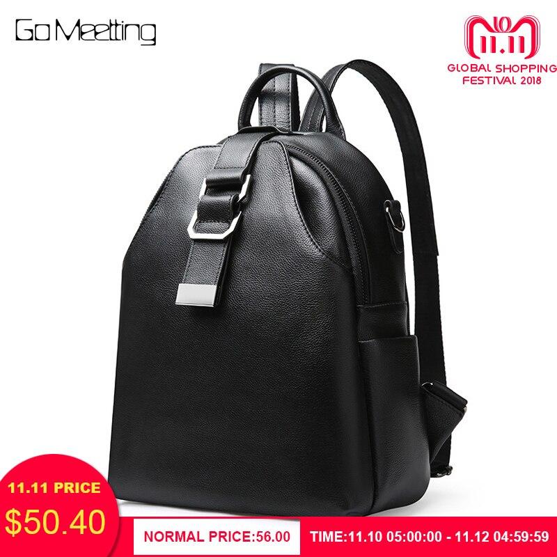 купить Go Meetting Women Genuine Leather Backpack Female Teenage Girls School Backpacks Large Multifunction Mochila Solid Shoulder Bag по цене 3188.94 рублей