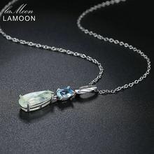 9bb6266941a7 LAMOON Natural de piedras preciosas Prehnite y topacio de Plata de Ley 925  colgante de cadena de plata collar de S925 de Color p.