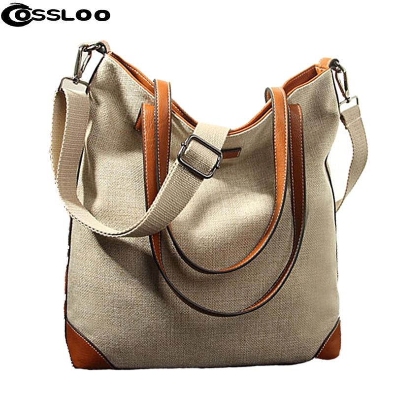 COSSLOO Fashion Women Linen Handbag Large Shopping Tote Holiday Big Basket Bags Summer Beach Bag Woven Beach Shoulder Bags