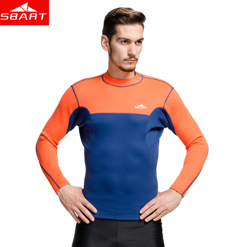 SBART Men Long Sleeve 2MM Neoprene Wetsuit Tops Mens Scuba Dive Wetsuits Swimming Surf Shirt Neoprene Rashguard Plus Size 3XL L