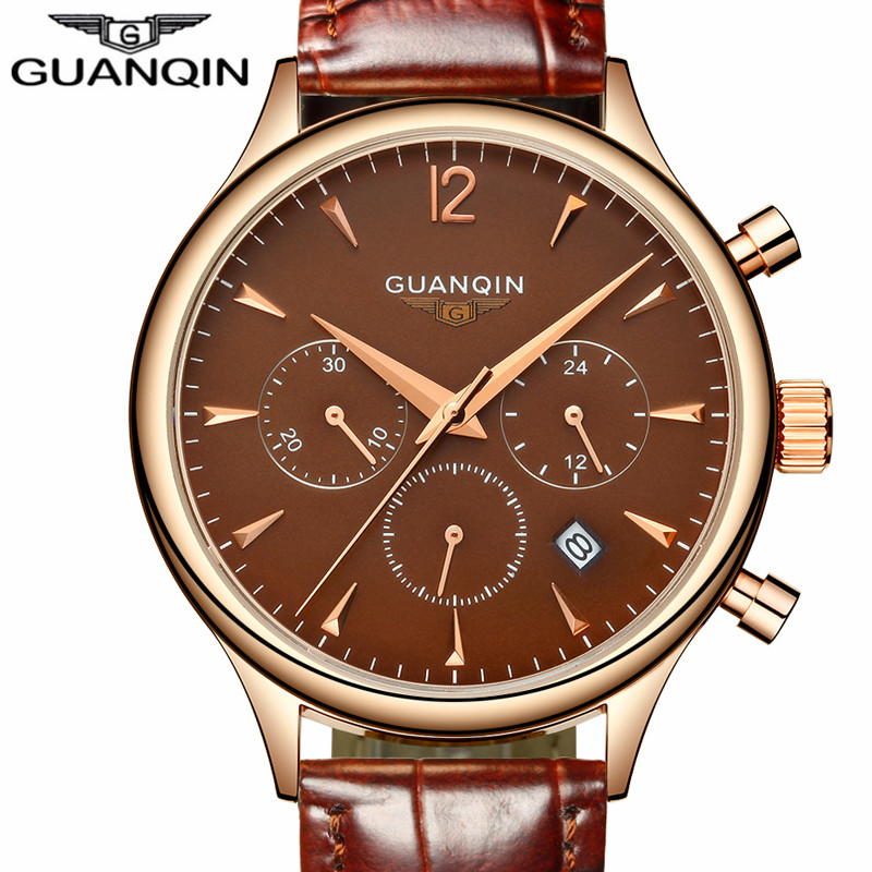 купить Mens Watches Top Brand Luxury GUANQIN Fashion Men Sport Chronograph Clock Brown Leather Strap Quartz Watch Relogio Masculino по цене 2757.1 рублей