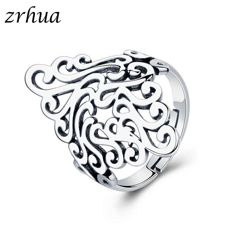 ZRHUA высокое качество стерлингового серебра 925 широкие кольца для женщин и девочек Свадебные обручальные лист большой палец Anel оптовая продажа Открытый Anillos