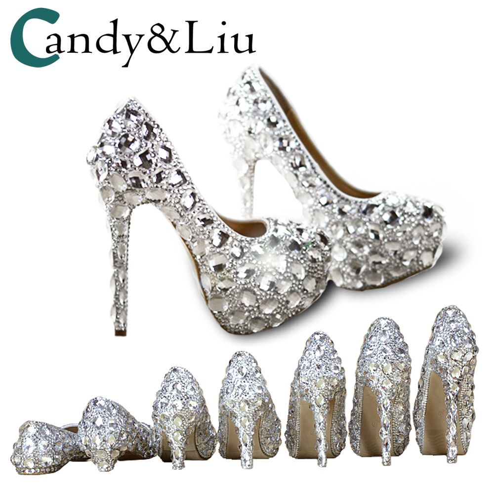 d6187ee2f299 Crystal Shoes Cinderella Women Heels For Evening Party Glittering Round Toe  Custom Silver Rhinestone Wedding Pumps Size 9-in Women's Pumps from Shoes  on ...