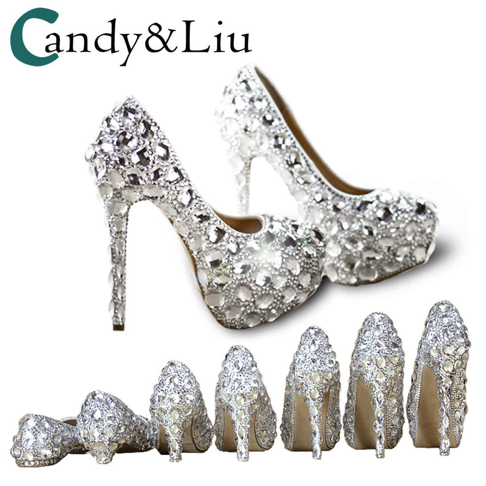 9a781b711f2c ... Crystal Shoes Cinderella Women Heels For Evening Party Glittering Round  Toe Custom Silver Rhinestone Wedding Pumps