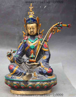 Crafts statue old India buddhism bronze Cloisonne Guru Rinpoche Padmasambhava buddha statue ( Optional) halloween