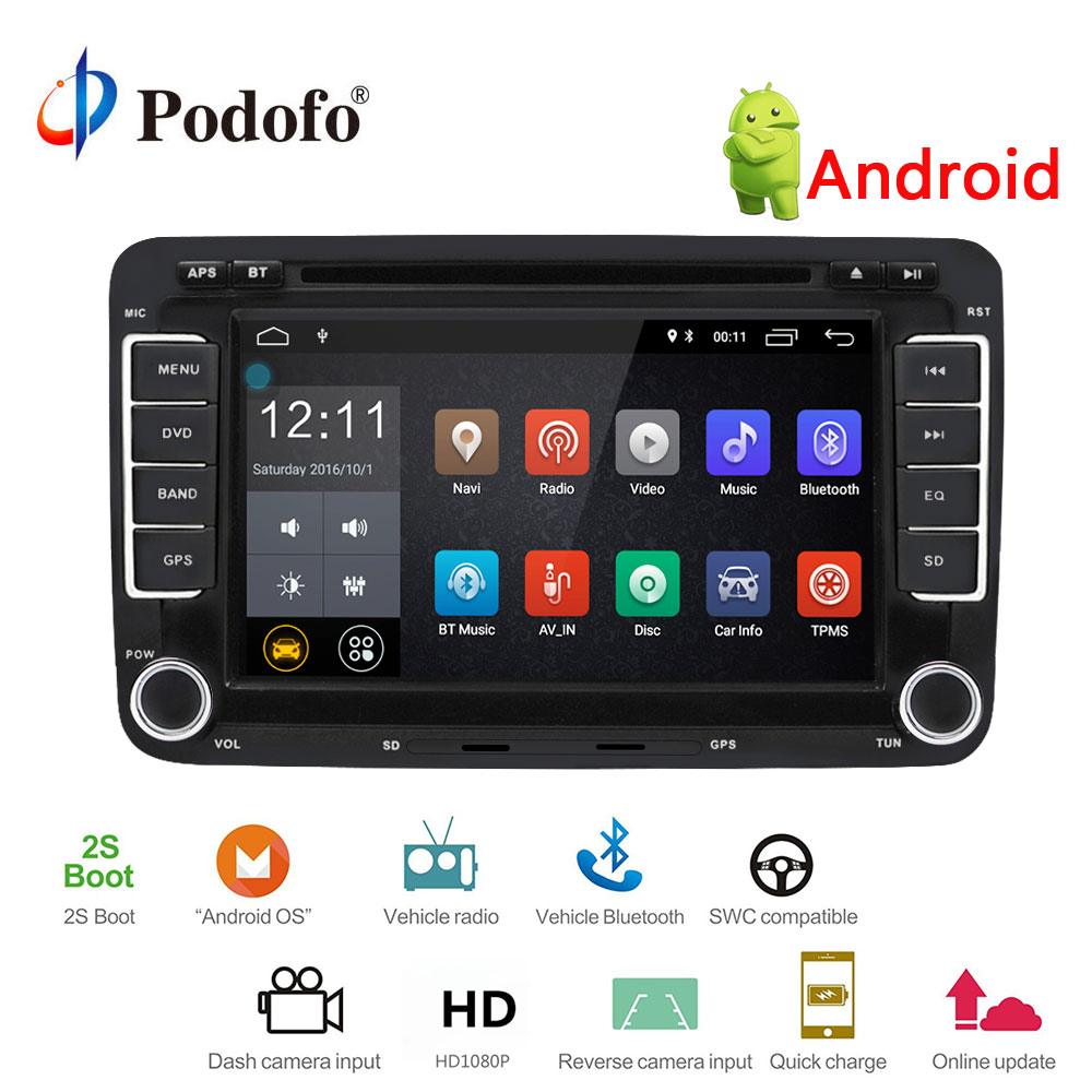 Podofo Car Multimedia player 2 Din Car Radio GPS Android Car DVD Player GPS Radio For VW/Golf/6/Golf/5/Passat/Jetta/T5/EOS/POLO joying px5 octa 8 core 2gb ram android 8 0 car radio player for vw golf 5 6 polo passat jetta tiguan touran eos gps navigation