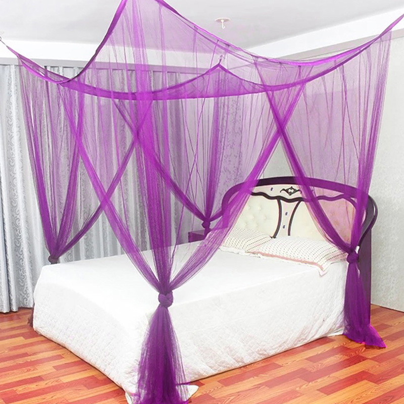 Canopy Dome Mosquito Netting Curtain 4 Corner Post White Bedroom Decor King Bed Black / White / Beige / Purple For Home Decor