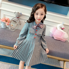 Spring 2019 new girls long sleeve girl retro dress  children dresses christmas