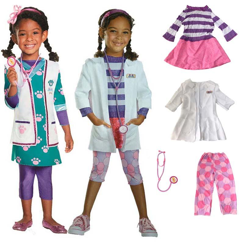 Children girl Halloween party cosplay Doc McStuffins doctor nurse costume coat pink princess dress