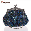 New Women's Retro Fashion Handbag Hand-beaded Sequins Bridal Party Clutch Purse Chains Can Messenger Tote Evening Bag Multicolor