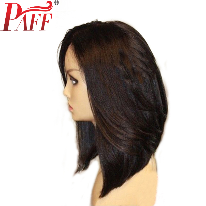 PAFF 13*6 Yaki Straight Lace Front Human hair Wig Short Bob Peruvian Remy Hair Pre Plucked Wig With Baby Hair Middle Part