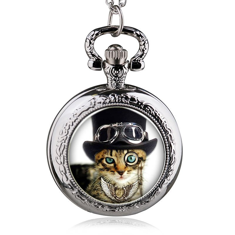 fashion quartz cat women pocket watch necklace Pendant woman fob watches ancient classic vintage antique retro bronze