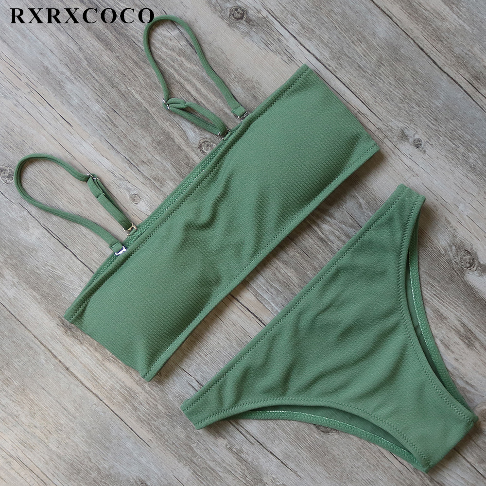 цена RXRXCOCO Solid Swimwear Women Sexy Padded Bikini Low Waist Bikini Set Push up Swimsuit Female Summer Bathing Suit Swimming Wear