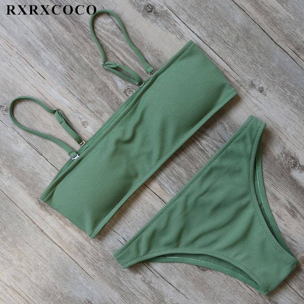 RXRXCOCO Solid Swimwear Women Sexy Padded Bikini Low Waist Bikini Set Push up Swimsuit Female Summer Bathing Suit Swimming Wear