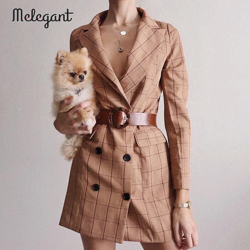 Melegant Casual Button Women Blazer Dress Autumn Winter 2019 Blazers High Fashion Plaid Sexy Blazers Coat