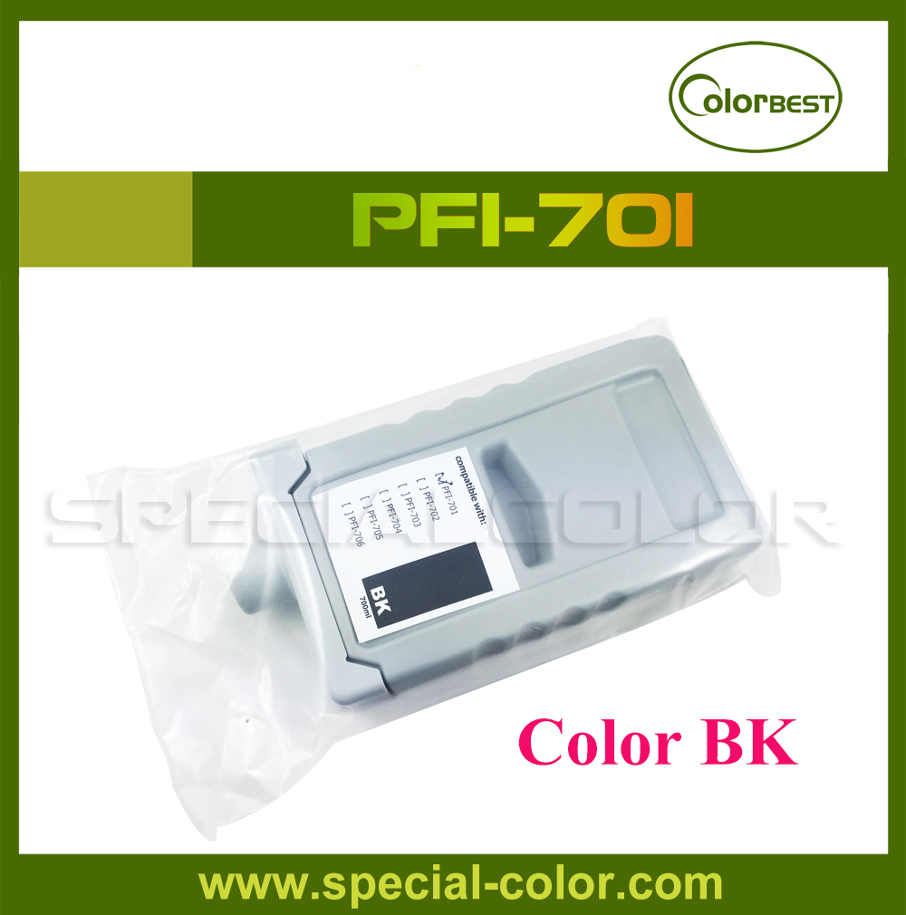 Color BK PFI-701 Pigment Ink Cartridge with Chip for IPF8000/8000s/9000/9000s 6 color pfi 102 refillable ink cartridge with arc chip for canon ipf600 ipf700 ipf610 ipf605 ipf710 ipf720 lp17 lp24 printer