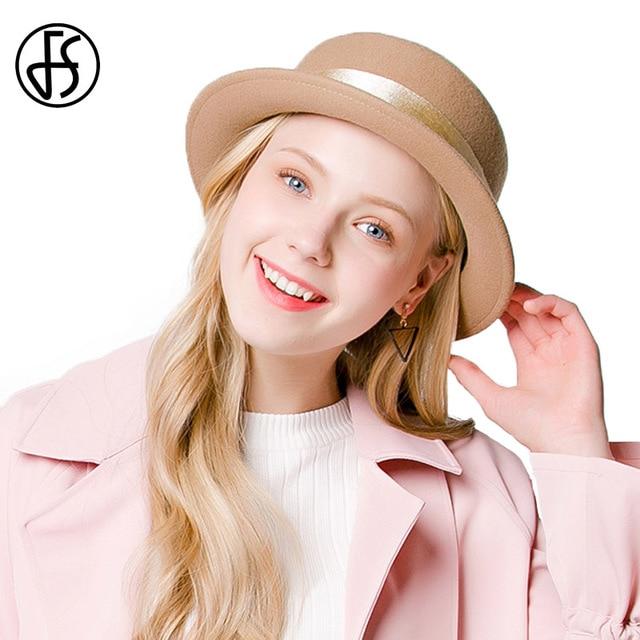 FS Short Brim Felt Hats For Winter Women Small Fedoras 100% Wool Hat  Vintage Retro French Hoeden Voor Vrouwen Elegante a53c470c858