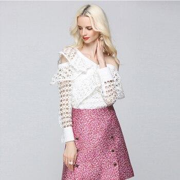 Irregular Women Hollow Out Blouse Openwork Clothing Top Women Femme Plus Size Lace Shirt Roupa Feminina Summer Blusinhas 80T0080